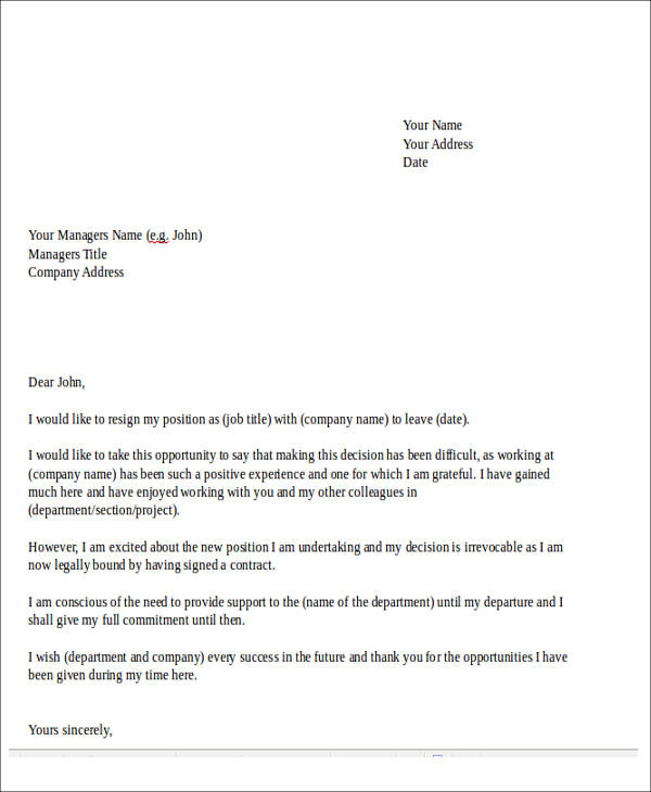 Sample Temporary Resignation Letter   Examples In Pdf