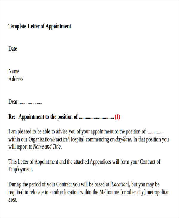 Appointment Letter Medical Fitness Your Appointment Appointment
