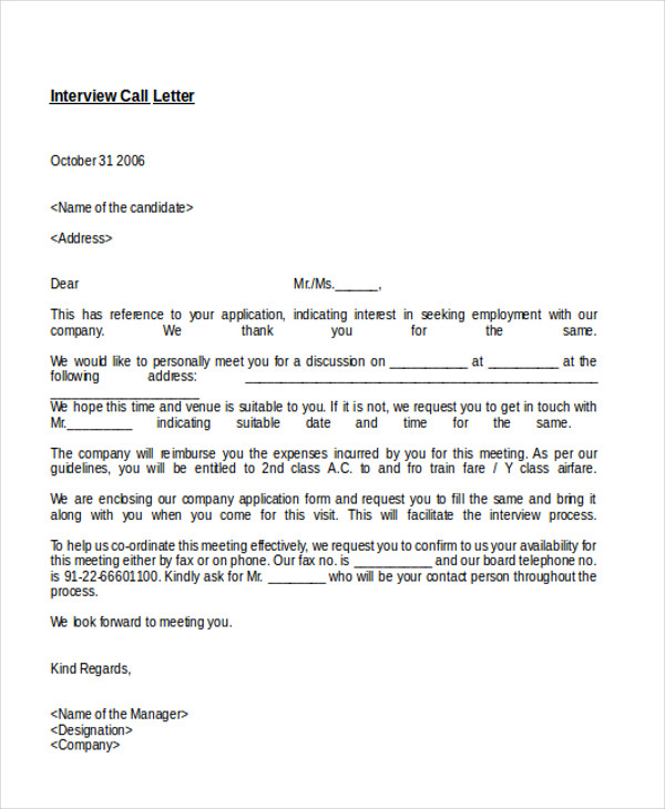 interview appointment letter in doc