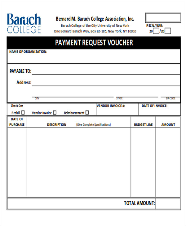 Sample Payment Request Form 12 Examples in Word PDF – Sample Check Voucher