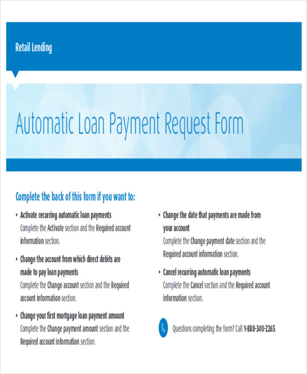 automatic loan payment request form