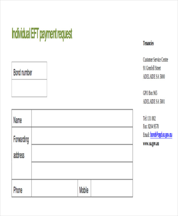 individual payment request form