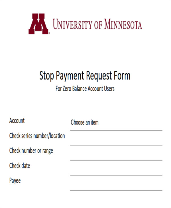 stop payment request form example