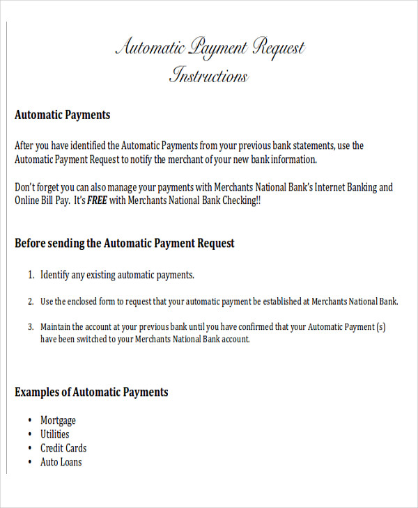 automatic payment request form