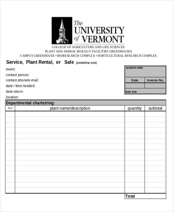 plant rental invoice
