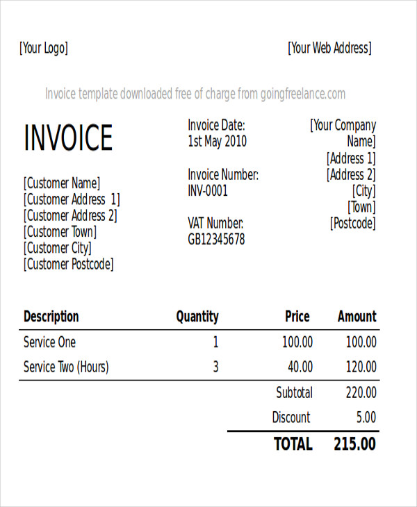Sample Graphic Design Invoice  Free Sample Example Format Download
