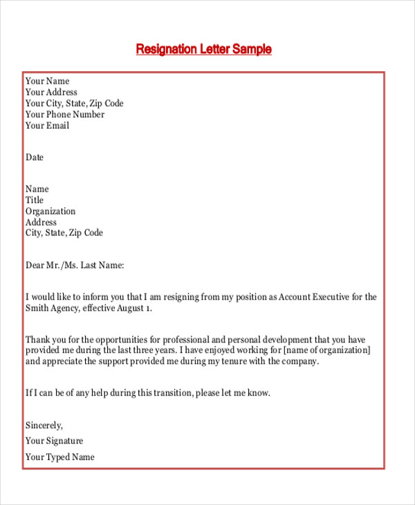 Sample Employment Resignation Letter   Examples In Pdf Word