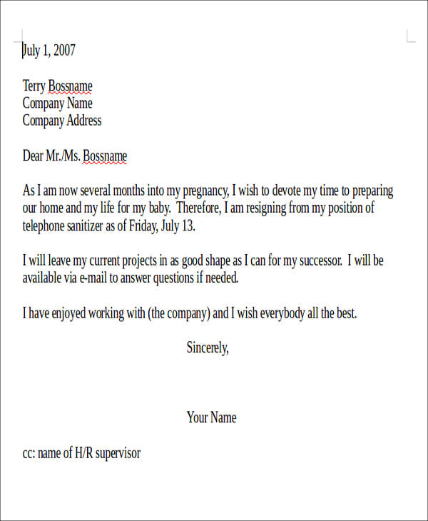 Sample Pregnancy Resignation Letter - 5+ Examples In Pdf