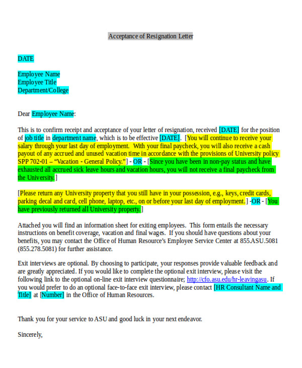 Free 7  Sample Employment Resignation Letter Templates In