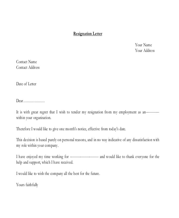 Employment Resignation Letter Example