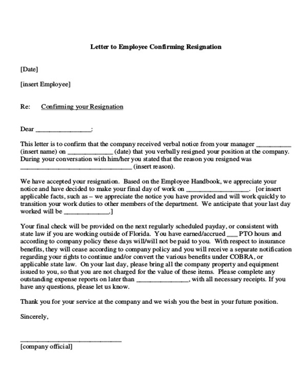 Sample Employment Resignation Letter