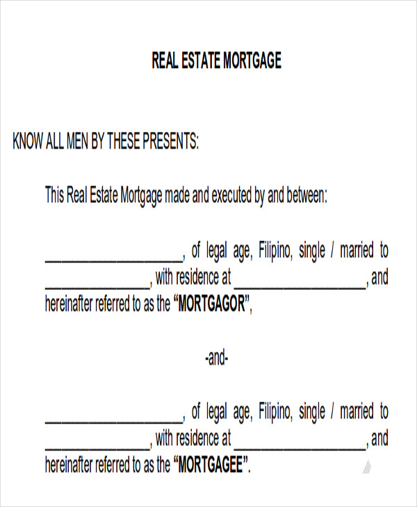 real estate mortgage note