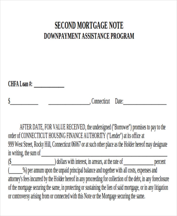 second mortgage loan note