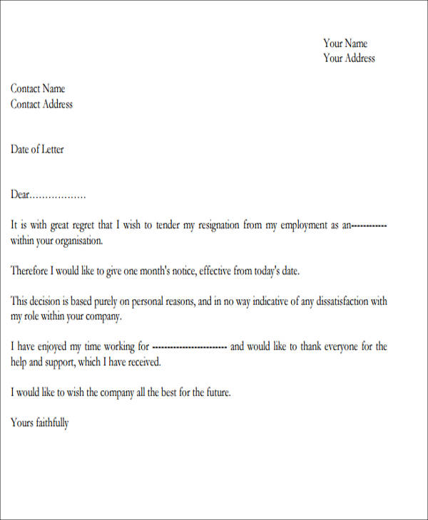 Sample Resignation Letter with Regret 6 Examples in PDF Word – Samples of Resignation Letters with Regret