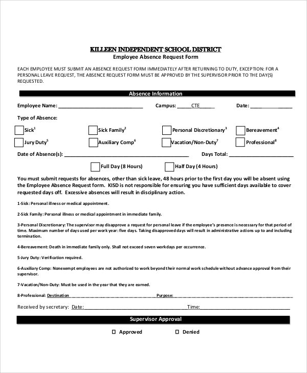 Absence request form leave of absence letter format premierme sample absence request form examples in word pdf spiritdancerdesigns