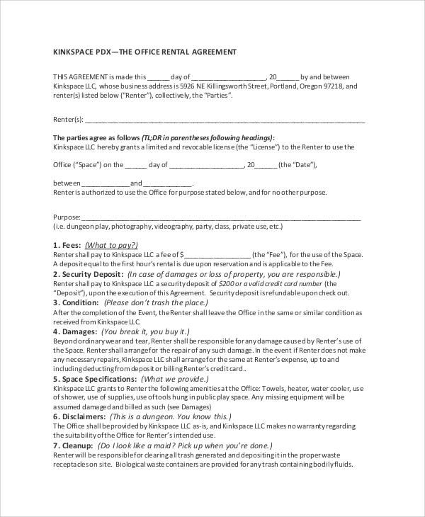office rent agreement format