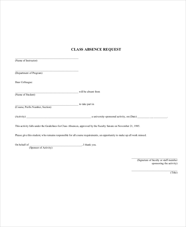 sample absence request form