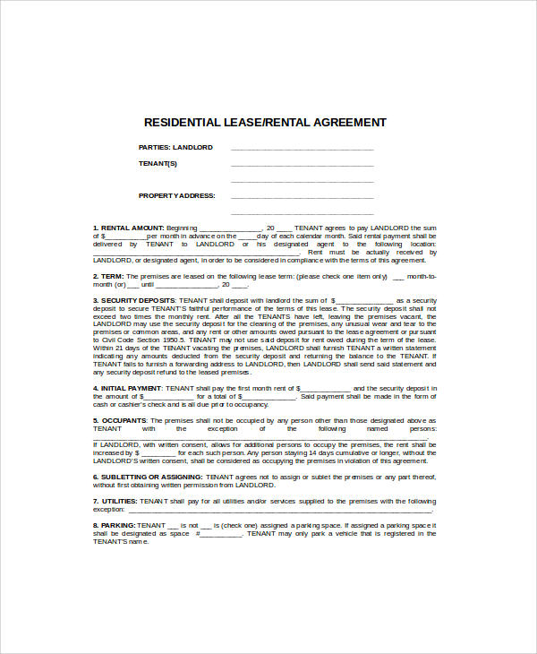 residential rent agreement format in word