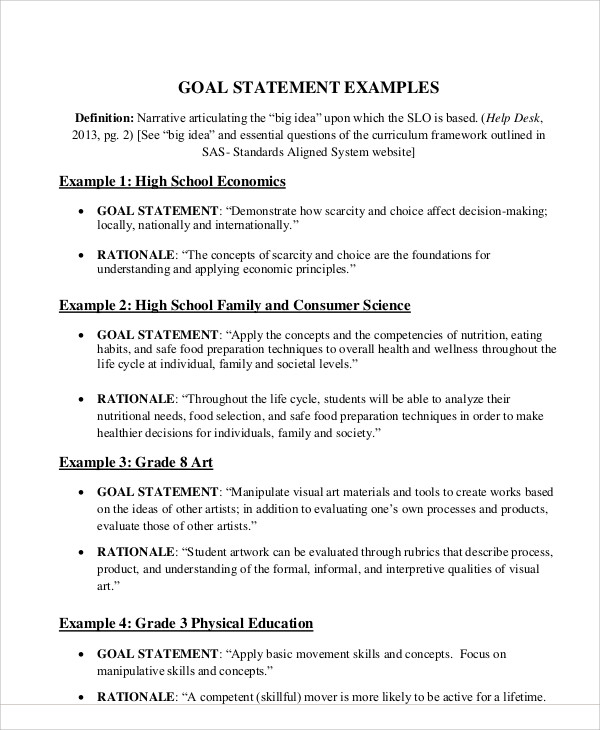 Sample Goal Statement   Examples In Word Pdf
