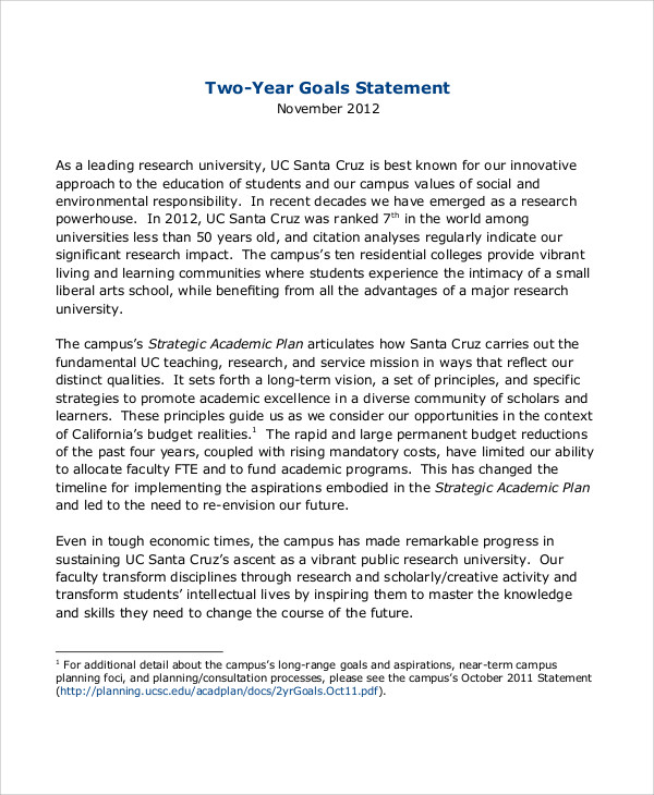 A personal statement of goals and objectives