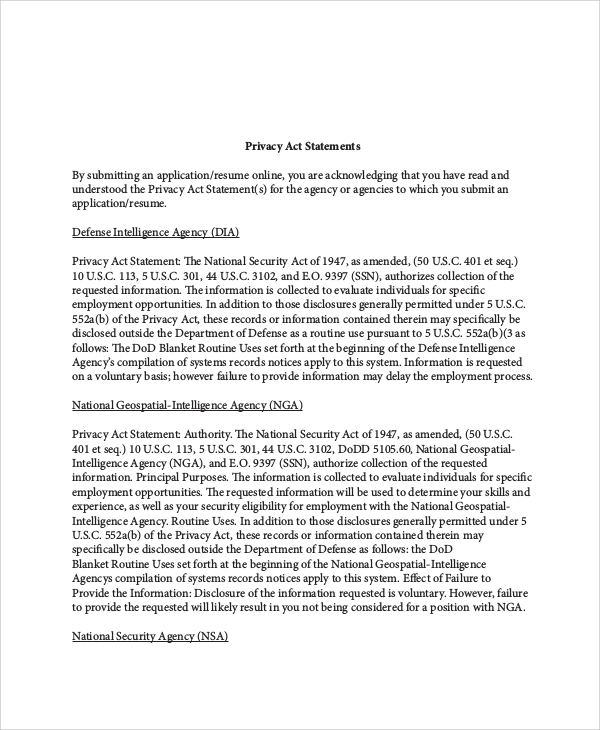 corporate privacy policy template - 9 sample privacy statements sample templates