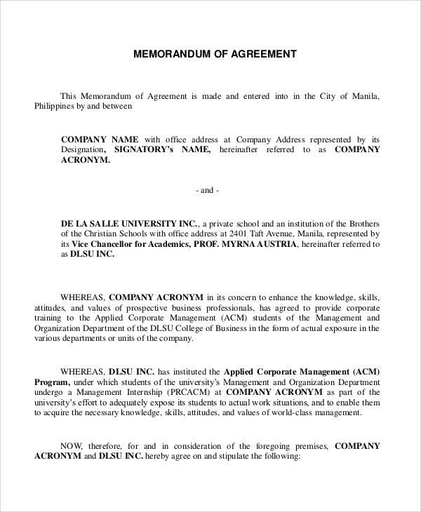 sample memorandum of agreement format