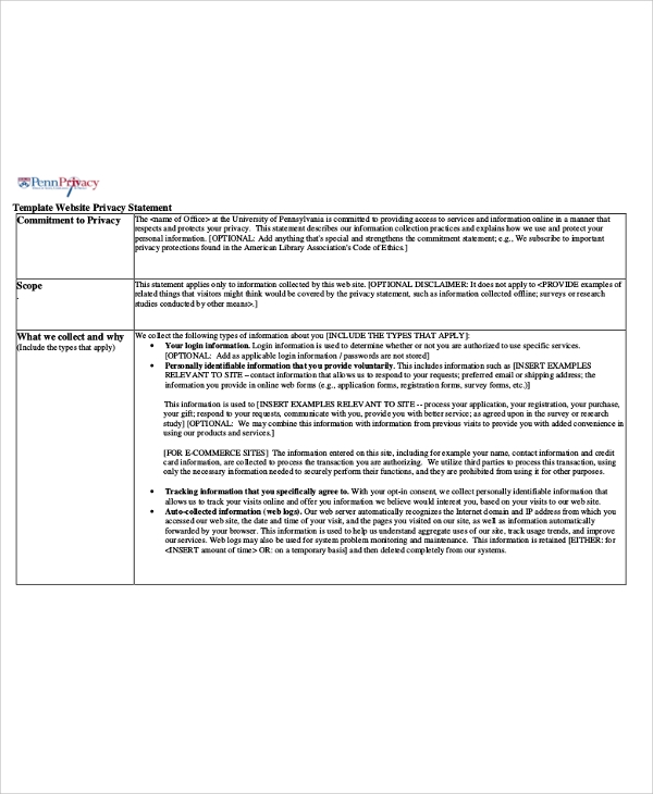Sample Privacy Statements Sample Templates - Privacy disclaimer template