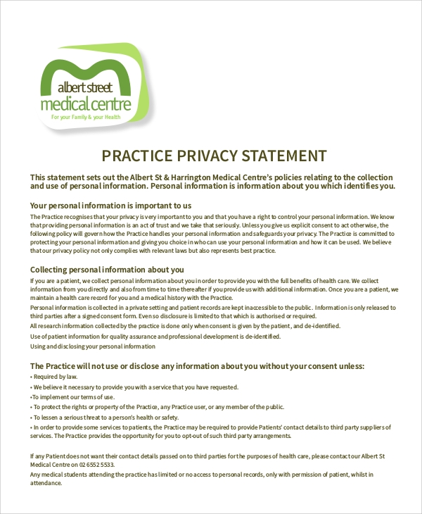 practice privacy statement