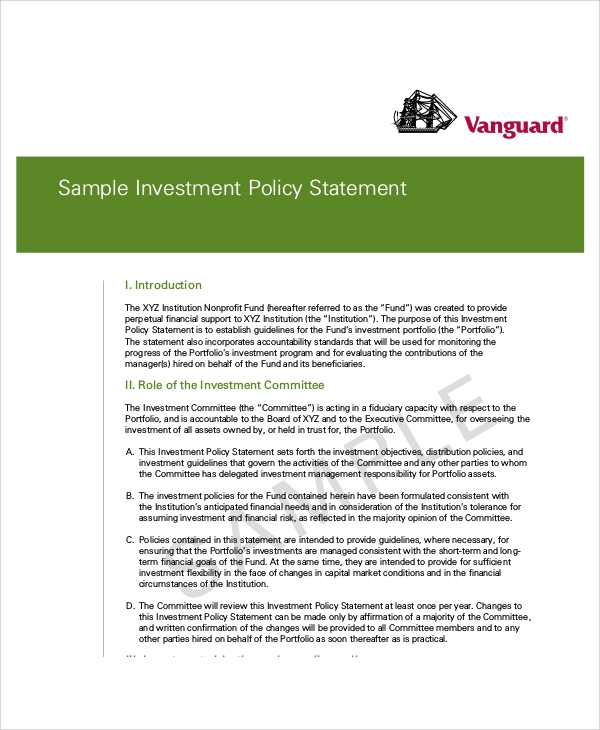Famous Investment Policy Statement - 157.9KB