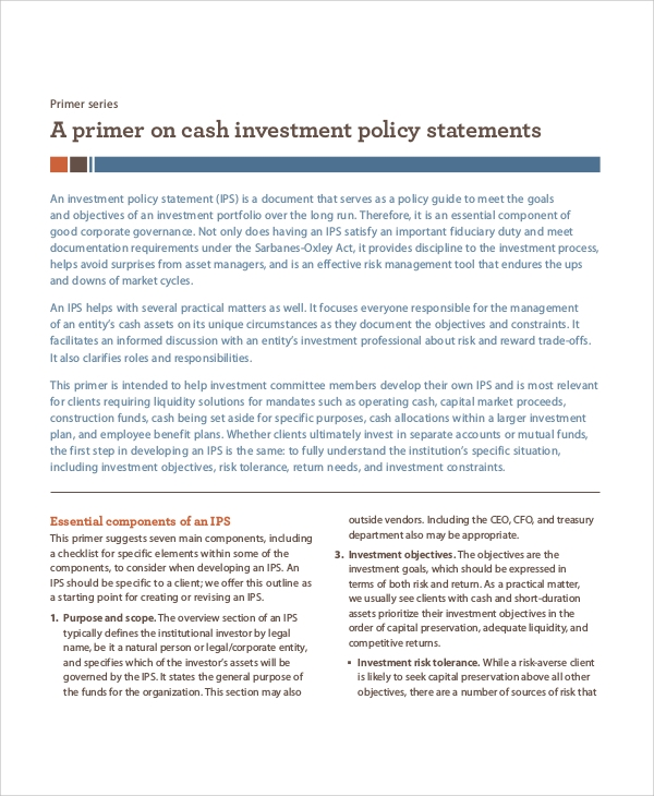 investment policy statement Gfoa sample investment policy i introduction consistent with the gfoa policy statement on state and local laws concerning investment practices.