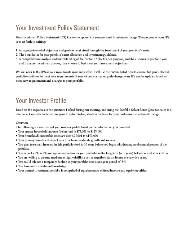 10+ Sample Investment Policy Statements | Sample Templates