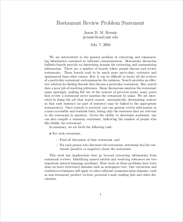 restaurant review problem statement