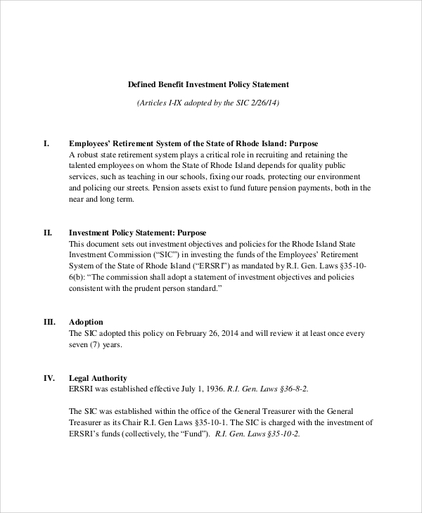 Sample Investment Policy Statement 10 Examples in Word PDF – Investment Policy Statement