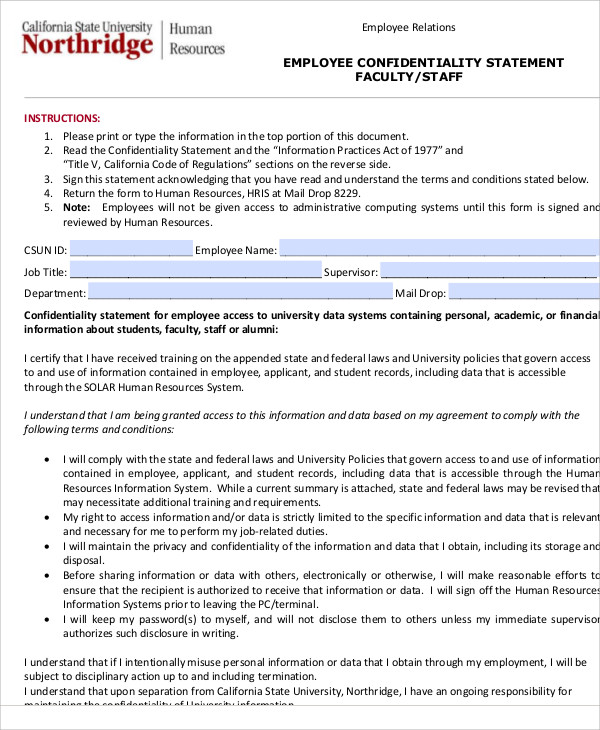 10 Sample Confidentiality Statements Pdf Word Sample Templates