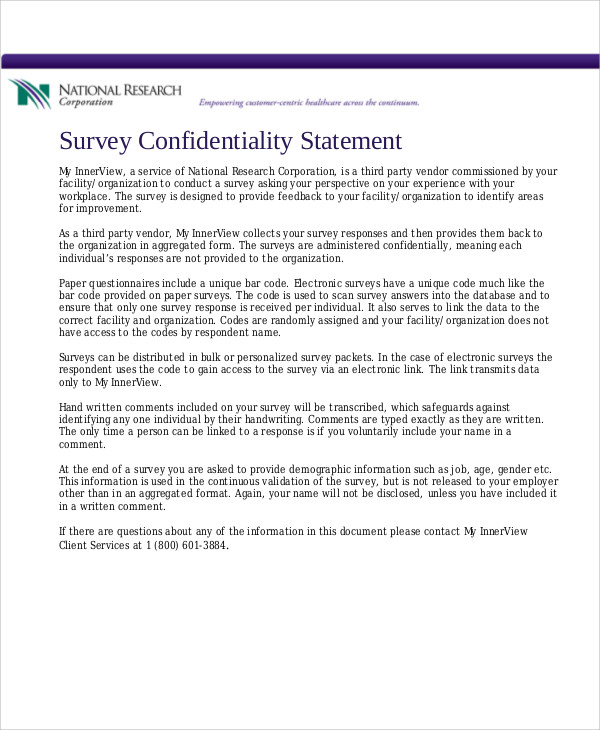 survey confidentiality statement