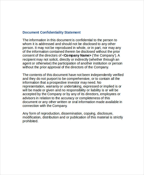 document confidentiality statement