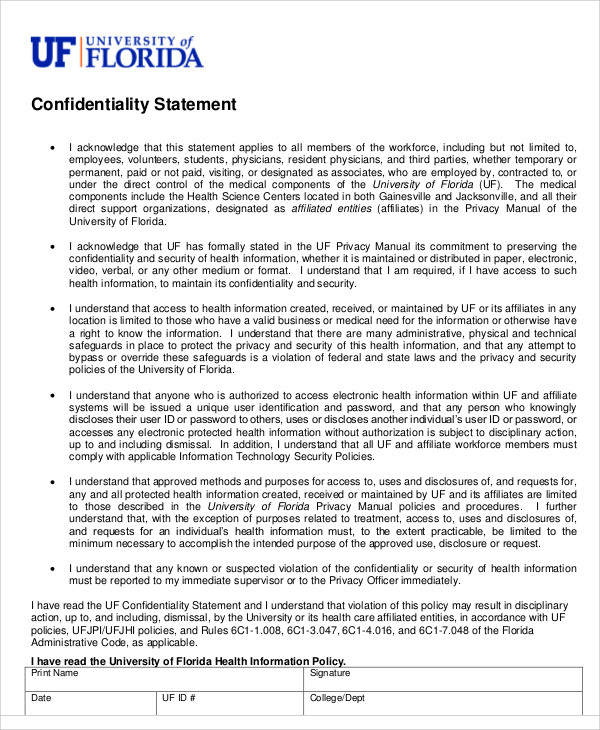health confidentiality statement