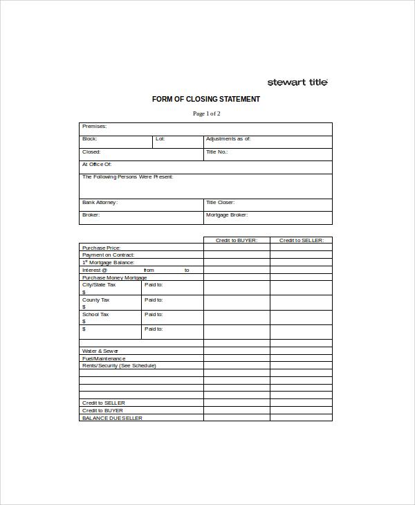 closing statement form
