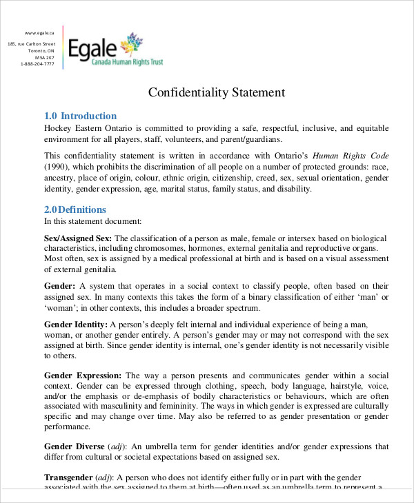 confidentiality statement for presentation