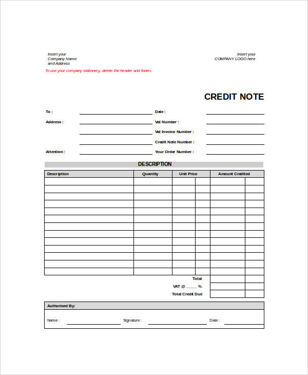 company credit note