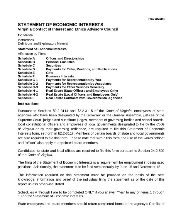 Statement Of Economic Interests In PDF Ideas