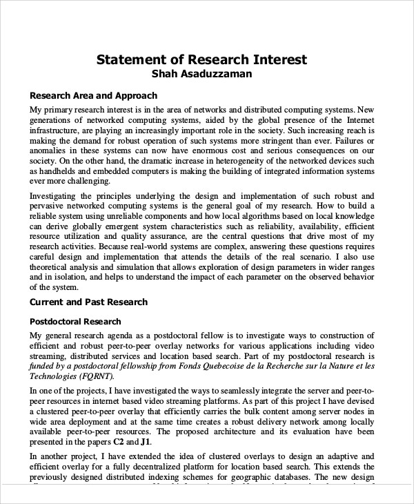 Statement Of Research Interests Example - Ex