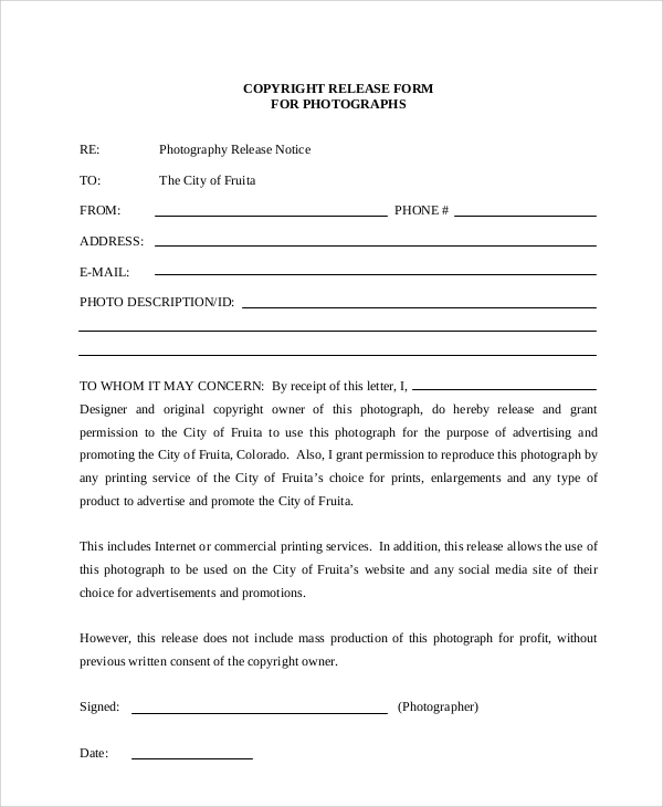 51 Sample Release Forms – Copyright Release Form