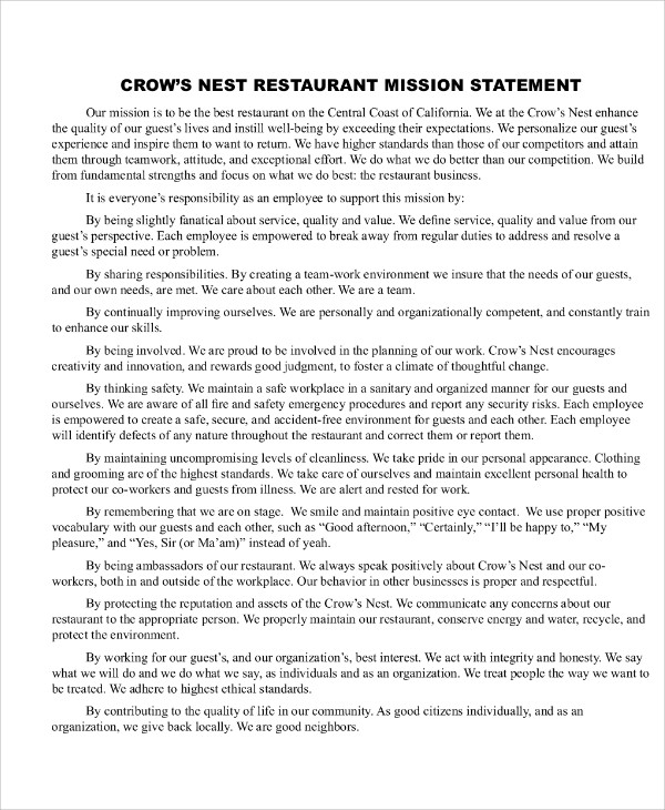 Sample Restaurant Statement   Examples In Word Pdf