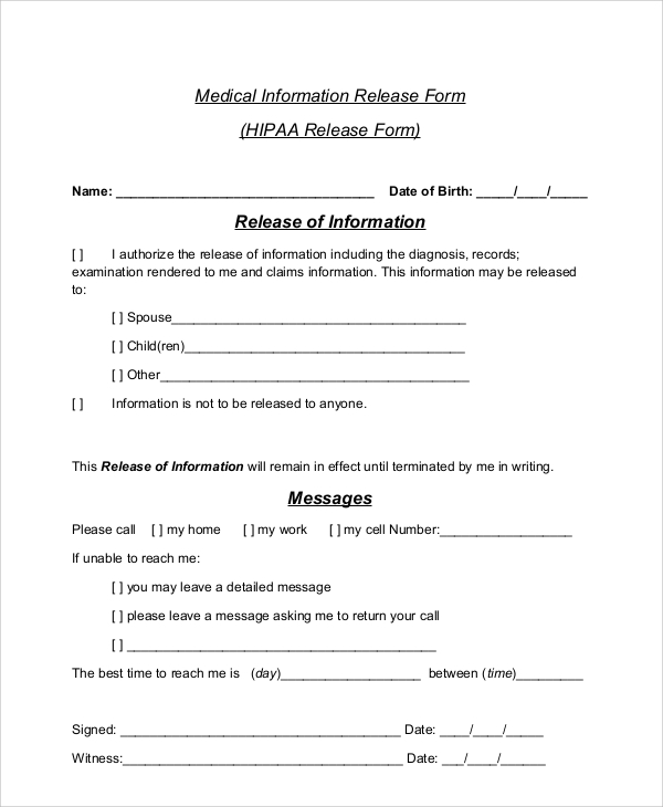 51 Sample Release Forms – Hipaa Release Form