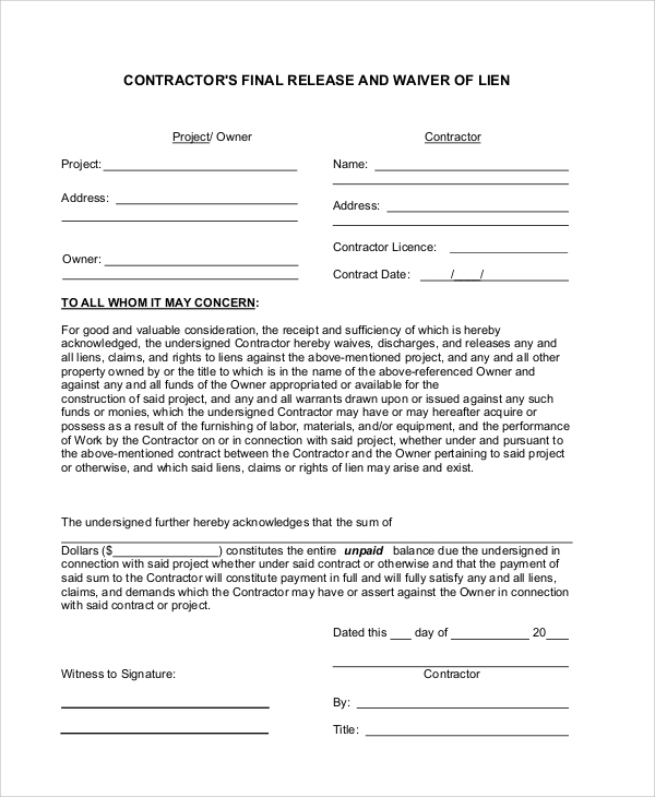 contractor lien release form