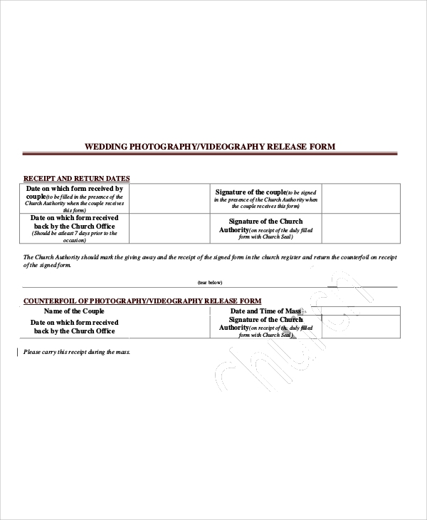 50 sample release forms sample templates for Wedding photo release form