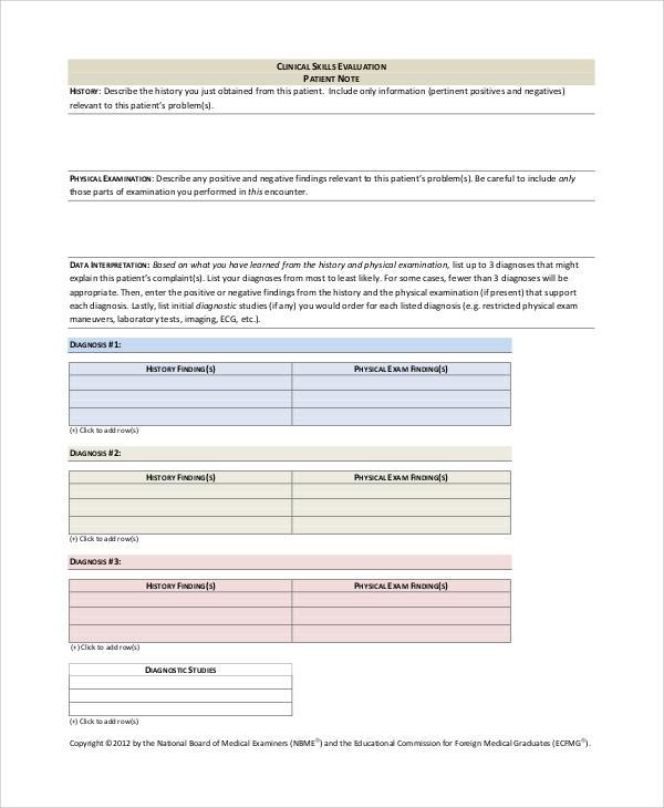 patient evaluation note