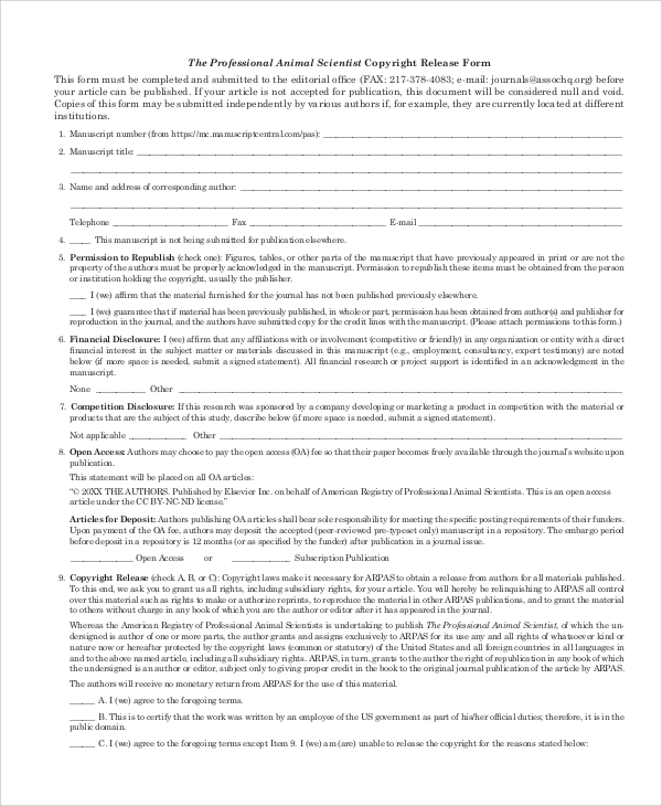 professional copyright release form