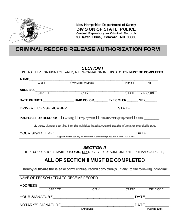general criminal record release authorization form